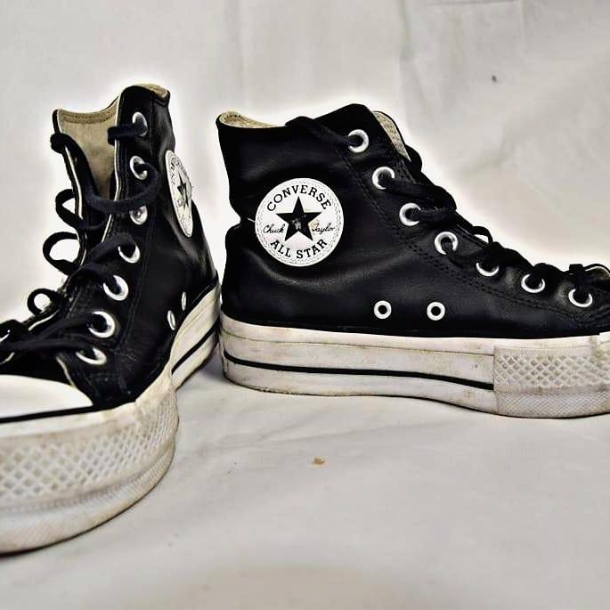 Converse - Sneakers All Star alte Donna pelle bianco/nero n.37 e mezzo in pelle